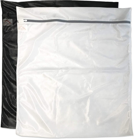 2 Jumbo (1 Black, 1 White) Laundry Wash Bags for Lingerie, Bras, Hosiery. Durable Mesh, 2 Bag Set