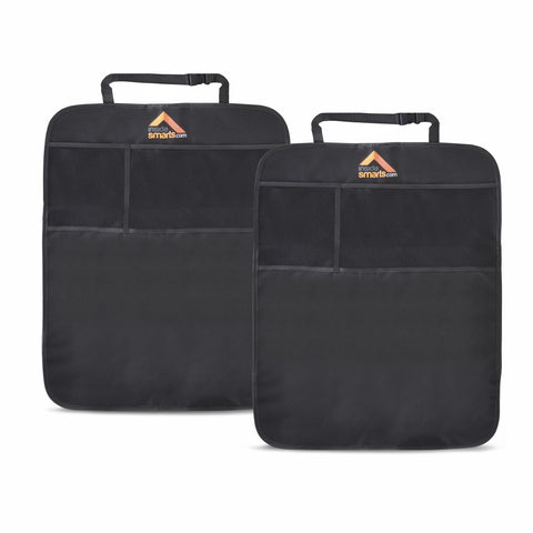 Car Kick Mat, Set of 2 Seat Protector Mats for Car Upholstery, Black