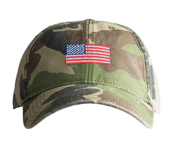 American Flag on Camo Hat
