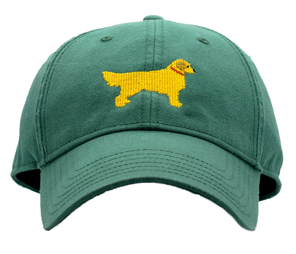 Golden Retriever on Moss Green Hat