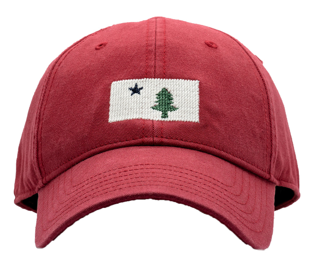 Maine Flag on Weathered Red Hat