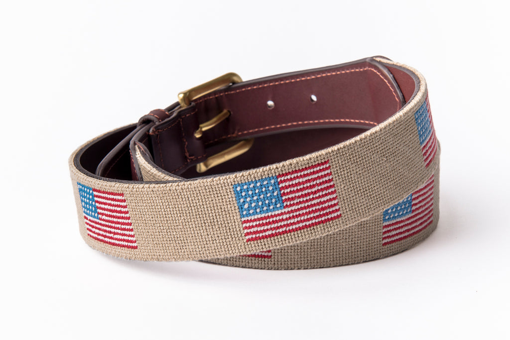 American Flag on Beige Belt