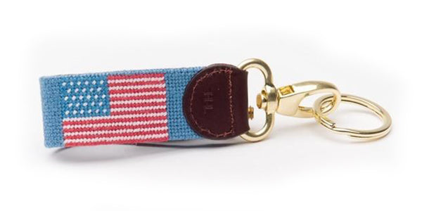 American Flag on Light Blue Key Fob