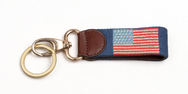 American Flag on Navy Key Fob