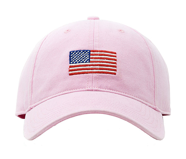 American Flag on Light Pink Hat