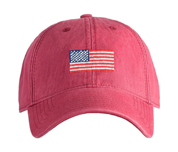 American Flag on Weathered Red Hat