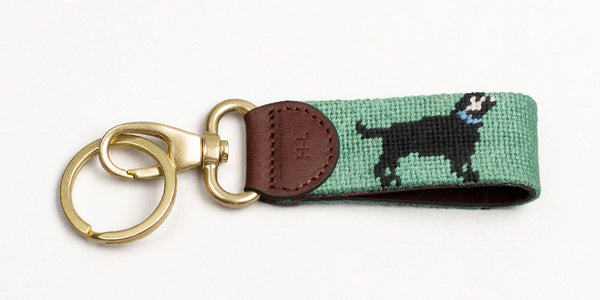 Black Lab on Moss Green Key Fob