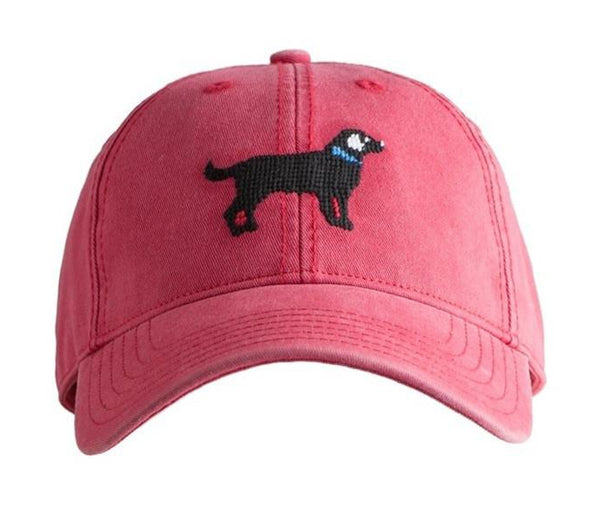 Black Lab on Weathered Red Hat