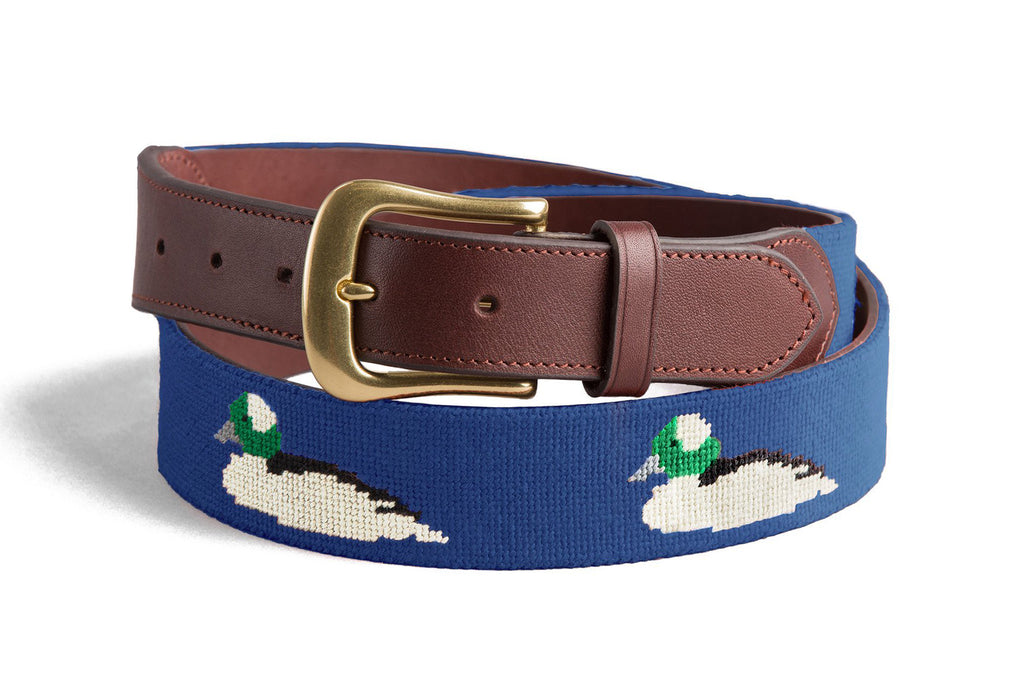 Bufflehead Duck on Faded Navy Belt
