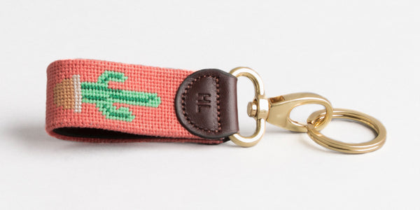 Cactus on Coral Key Fob