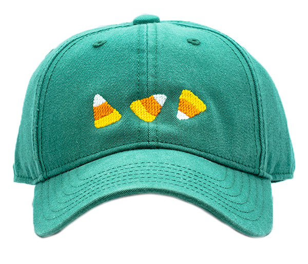 Kids Candy Corn Halloween on Moss Green Hat