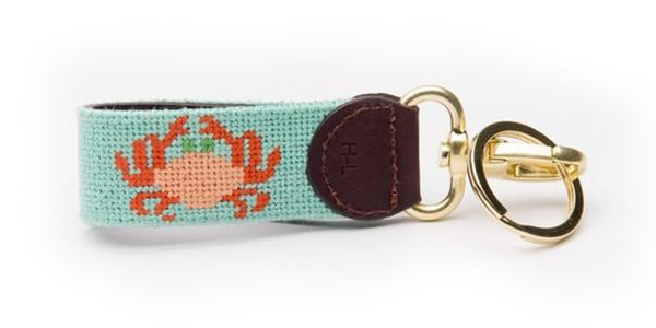 Crab on Mint Key Fob