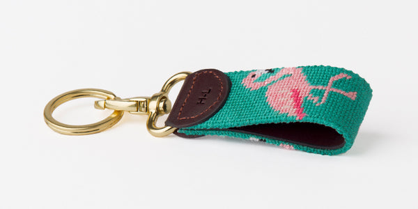 Flamingo on Seafoam Key Fob