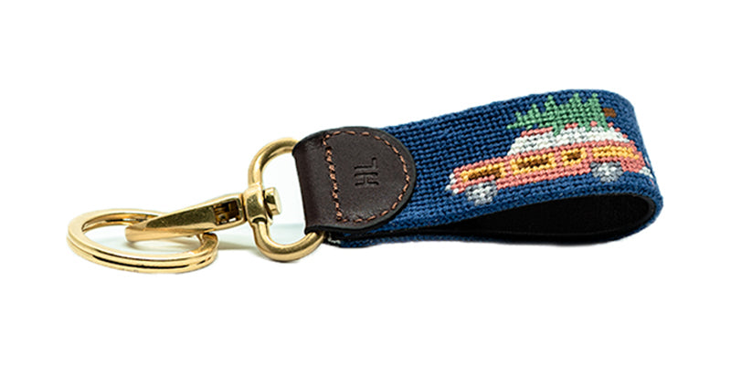 Holiday Wagoneer on Navy Key Fob