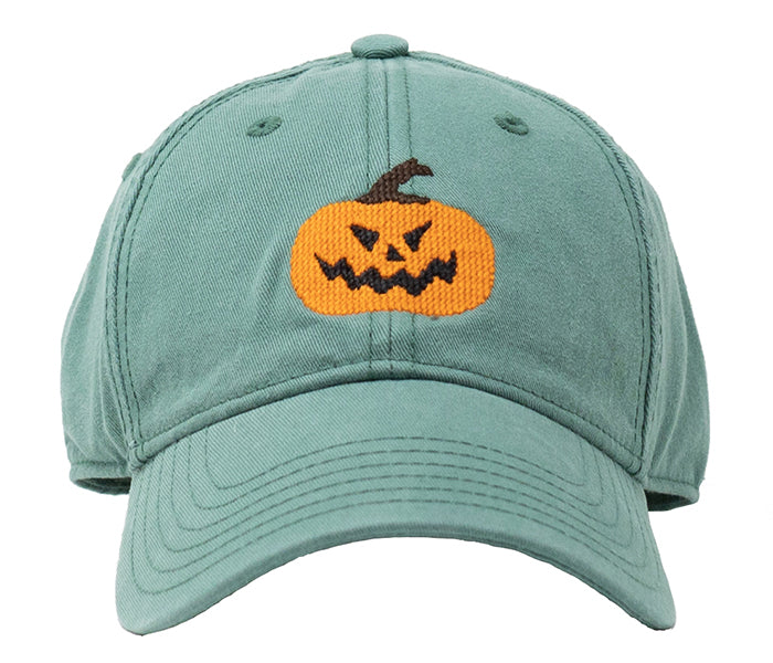Jack-O-Lantern on Moss Green Hat