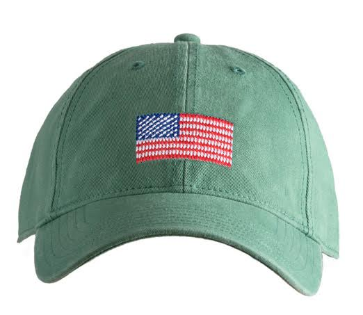 Kids' American Flag on Moss Green Hat