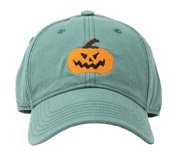 Kids Jack-O-Lantern Halloween on Moss Green Hat