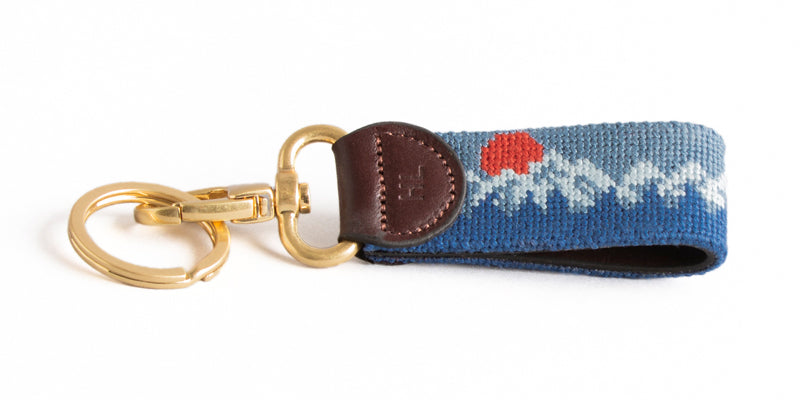 Mountain Sunset on Slate Blue Key Fob