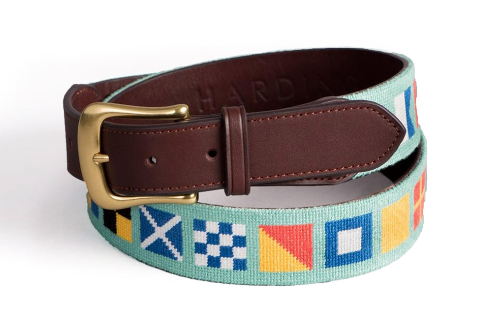 Nautical Flags on Mint Belt