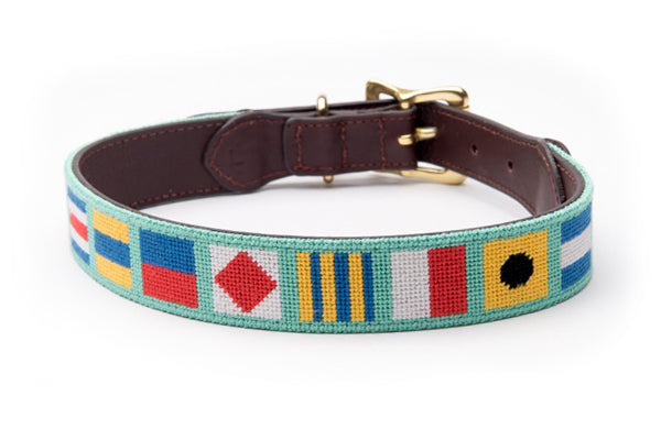 Nautical Flags on Mint Dog Collar