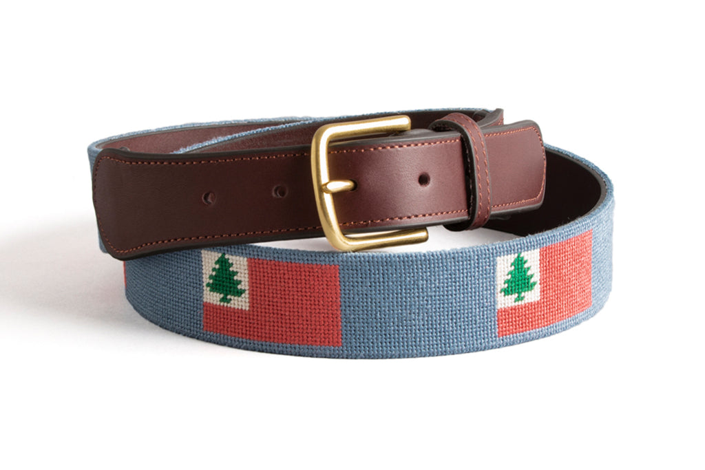 New England Flag on Slate Blue Belt