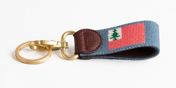 New England Flag on Slate Blue Key Fob