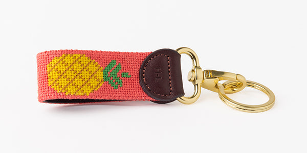 Pineapple on Coral Key Fob
