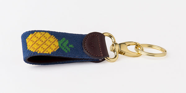 Pineapple on Navy Key Fob