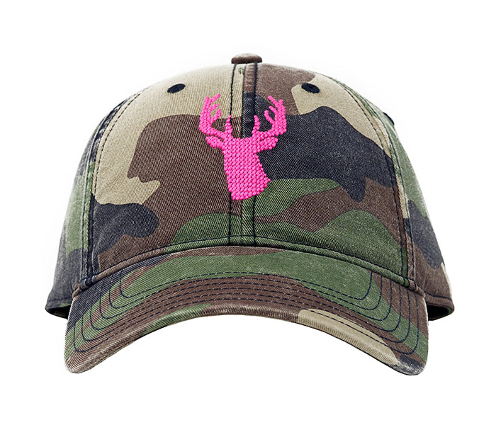 Pink Stag on Camo Hat