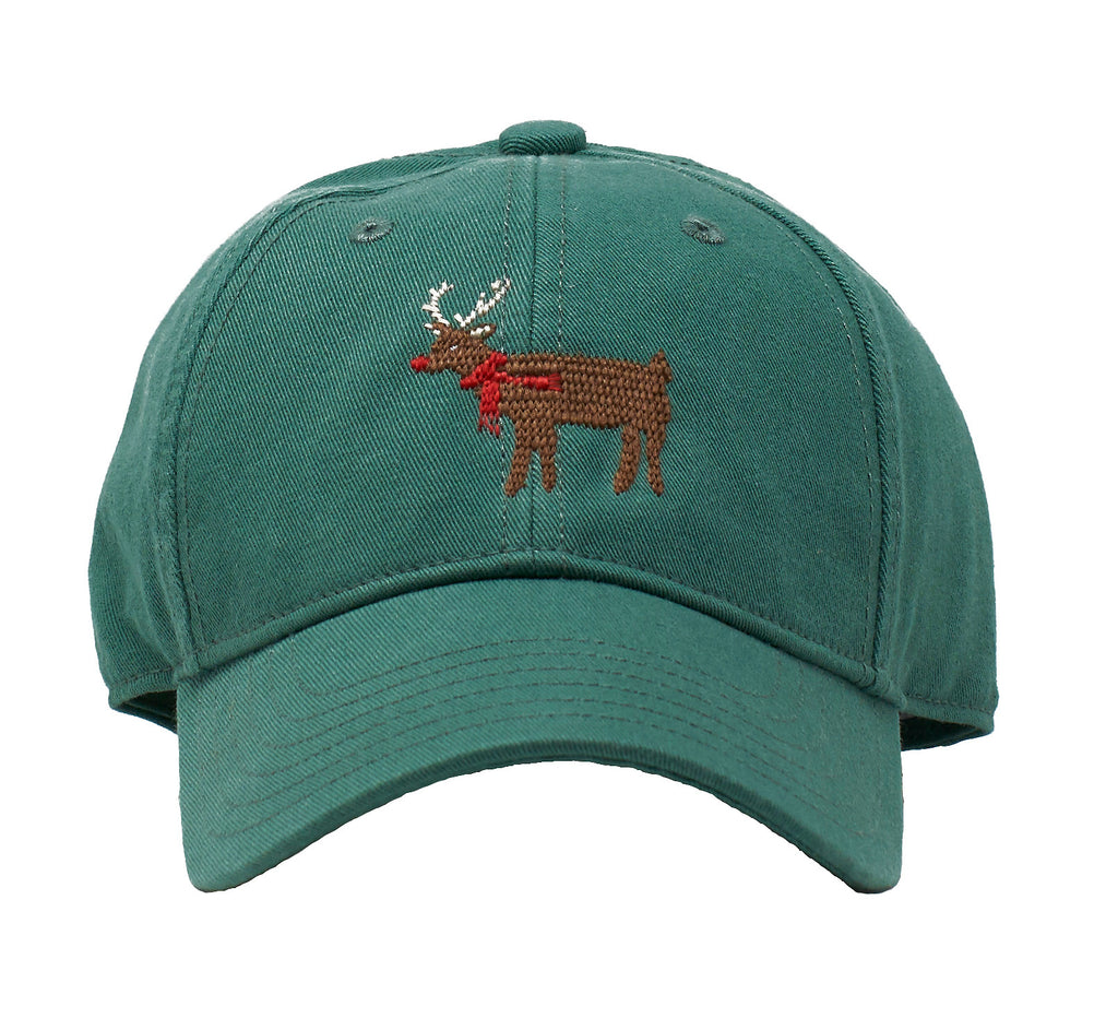 Kids' Reindeer on Moss Green hat
