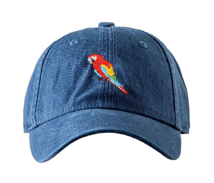 Scarlet Macaw on Navy Hat