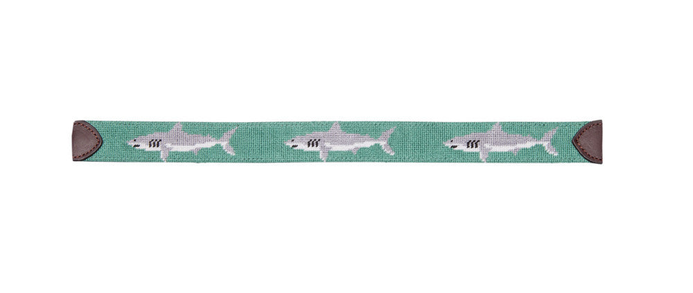 Great White Shark on Green Dog Collar