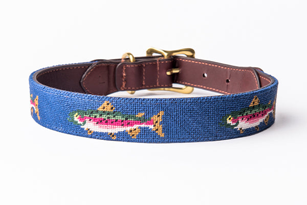Trout on Faded Blue Dog Collar
