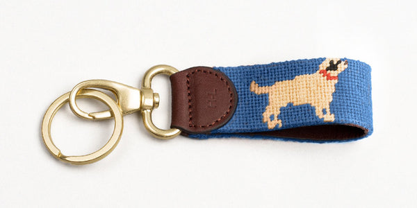 Yellow Dog on Blue Key Fob