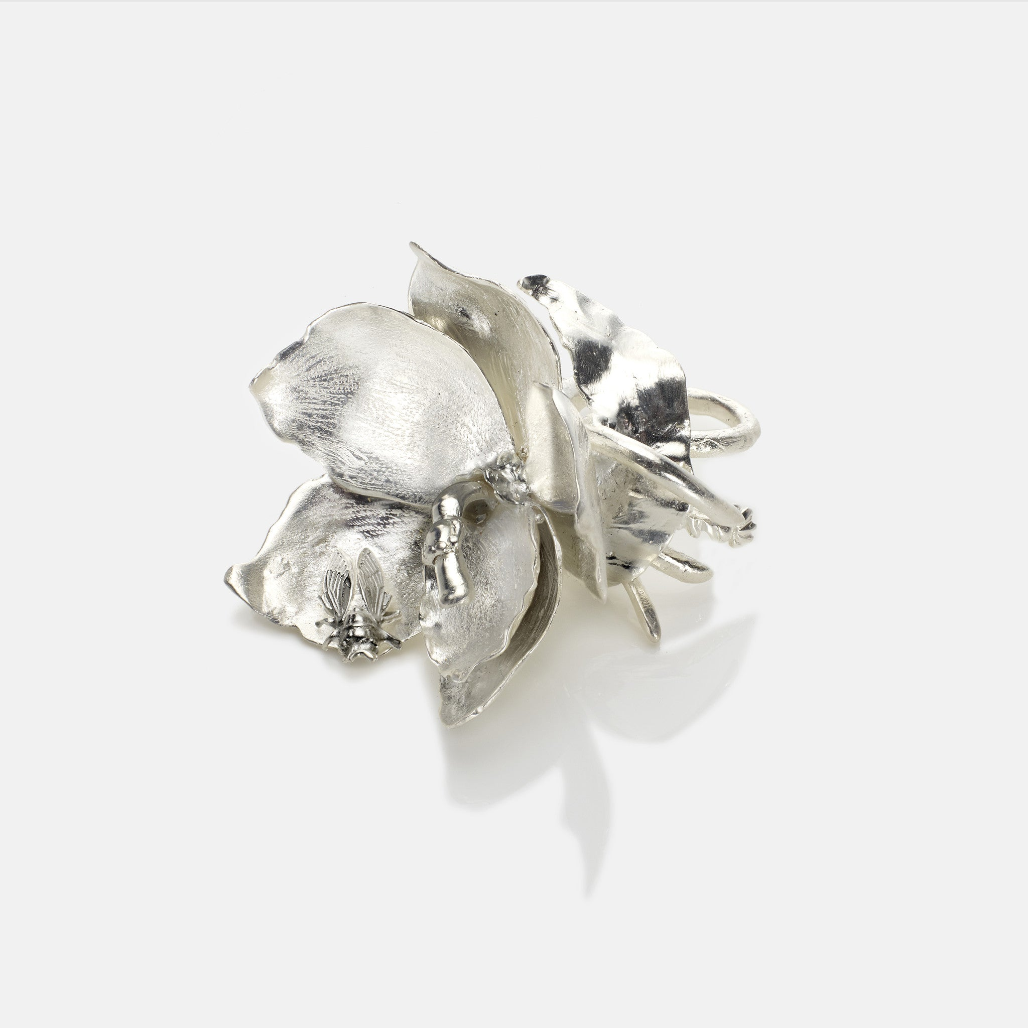 Orchid and cicada cocktail ring