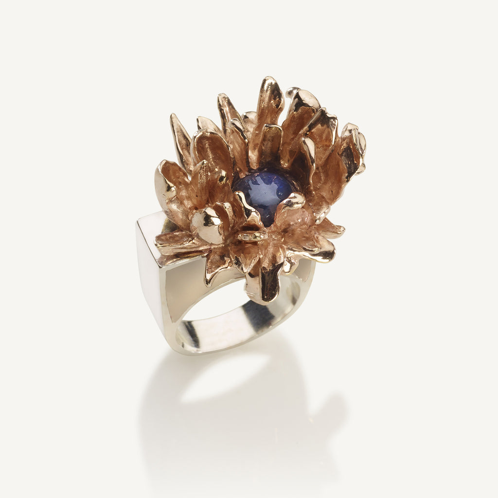 Aster flower cocktail ring