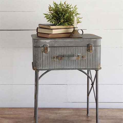 Metal Suitcase Accent Table