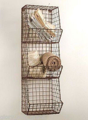 Glory & Grace Rustic Industrial Wall Mount General Store Multi-Basket Rack