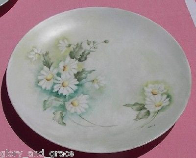 Artist Signed Shasta Daisies Hand Painted Bareuther China Plate