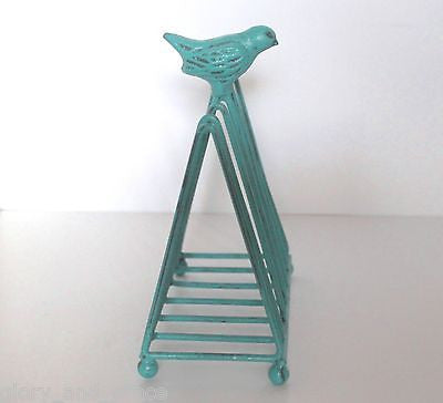 RUSTIC FRENCH GARDEN AQUA BIRD FILE FOLDER LETTER Napkin HOLDER RACK