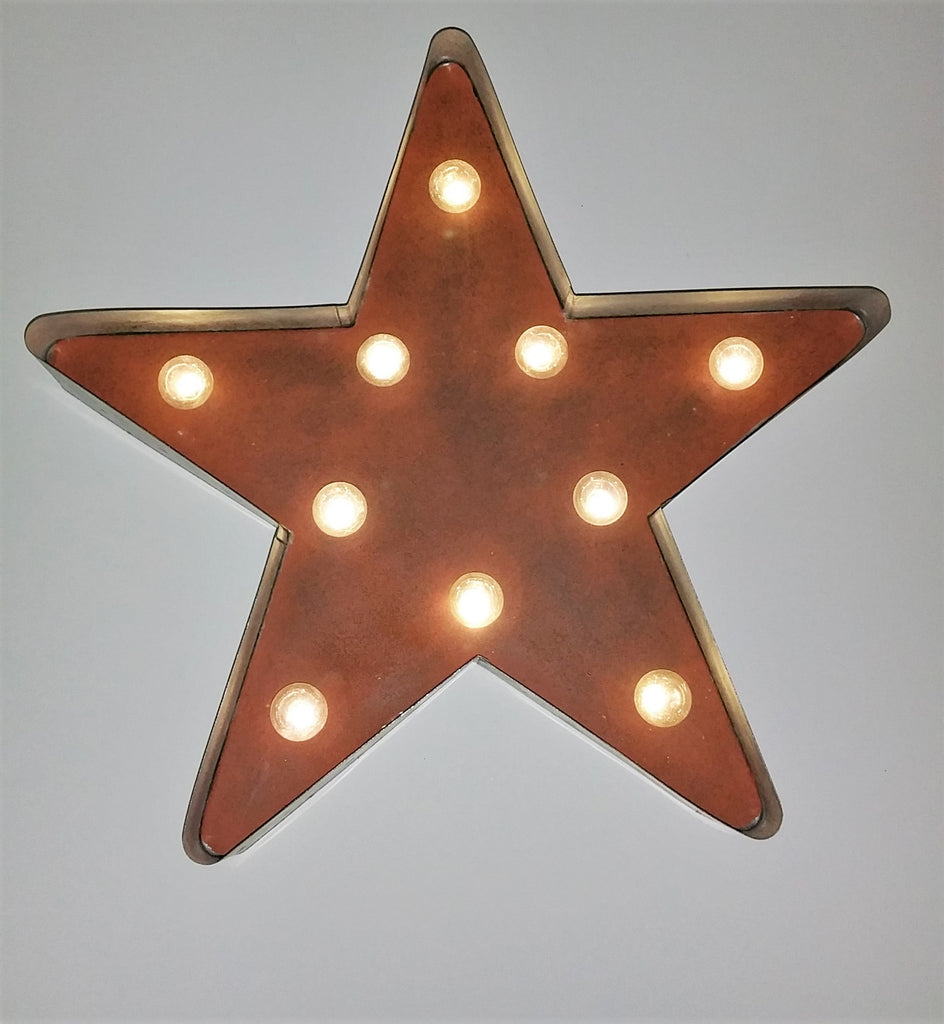"18"" Rustic Farmhouse Lighted Marquee Galvanzed Star"