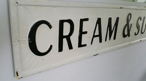 "61"" Huge CREAM AND SUGAR Cafe / Farmhouse Embossed Metal Sign"
