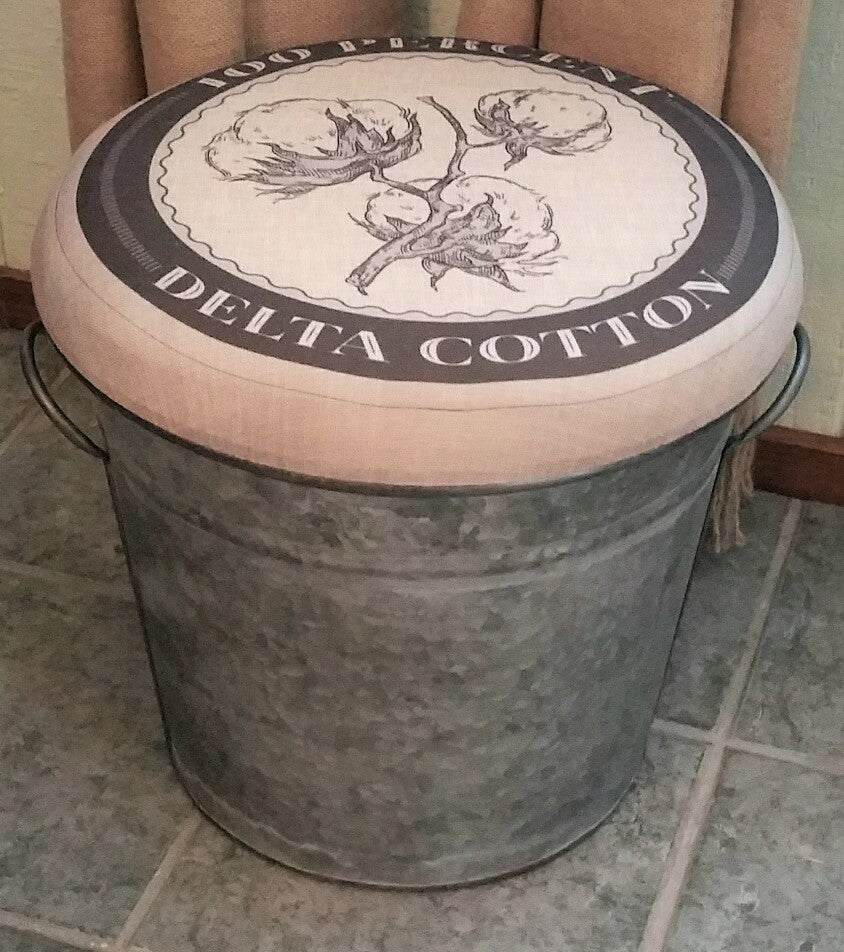 Cotton Picking Padded Top Galvanized Bucket Foot Stool