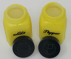 RARE! McKee Fired On YELLOW Roman Arch SALT & PEPPER Shakers, Orig Bakelite Lids