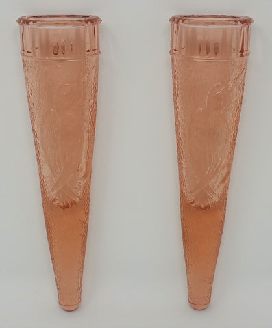 Antique Dugan Glass Company Pink Depression Glass WOODPECKER Wall Vases