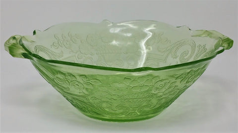 1920s Lancaster Glass Co.  Uranium Green Depression DEBRA Serving Bowl