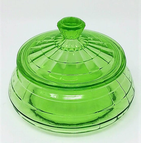 1930s Hocking Green Depression Glass BLOCK OPTIC Candy Dish