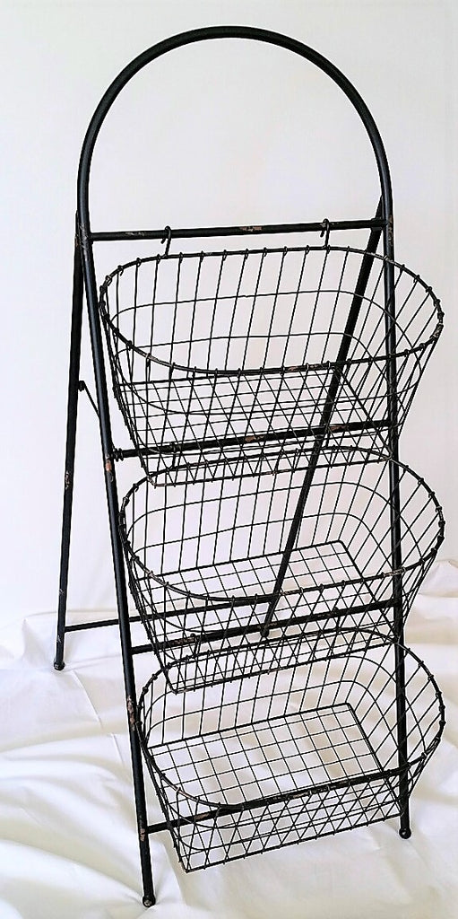 Farmer's Market Wire Display Stand, 3 Large Baskets