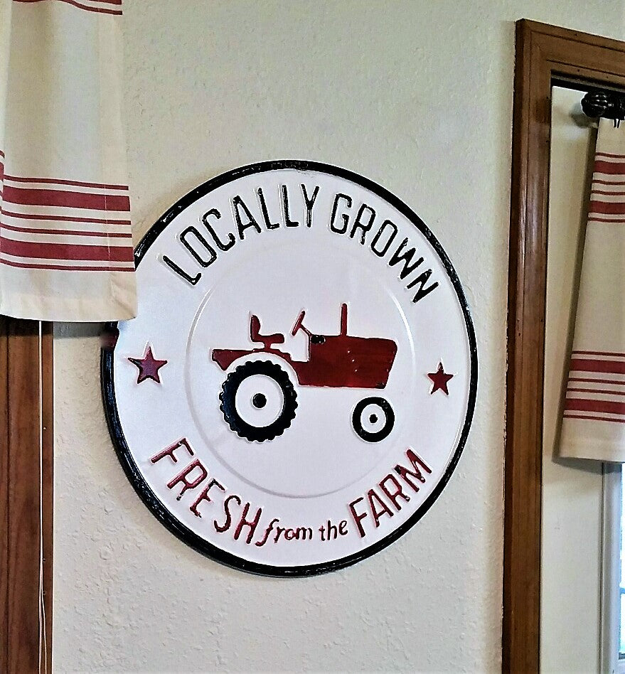 Round Metal FRESH FROM THE FARM Farmer's Market TRACTOR  Sign