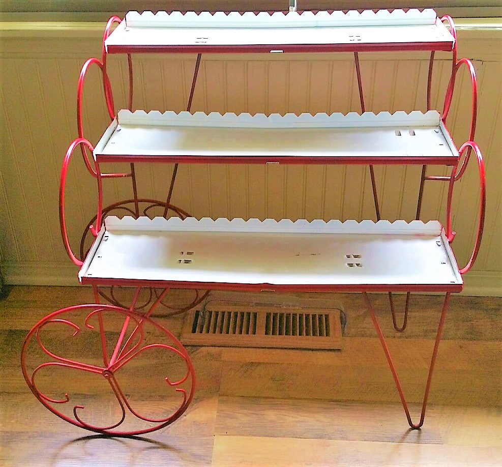 Retro Vintage 3 Tier Red, White Hairpin Legs Flower Cart Plant Stand